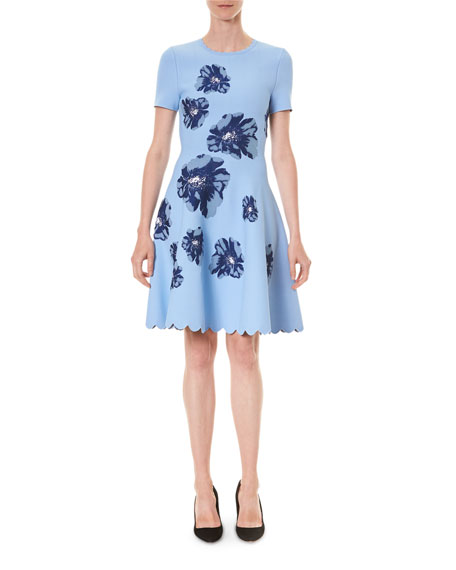 Image 1 of 3: Carolina Herrera Floral Short-Sleeve Fit And Flare Dress