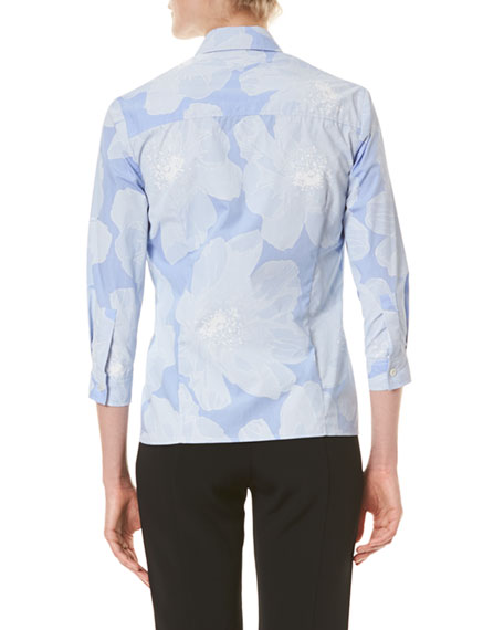 Image 2 of 3: Carolina Herrera Tonal Floral Pinstriped Classic Button-Front Shirt