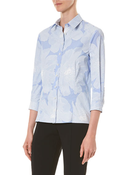 Image 3 of 3: Carolina Herrera Tonal Floral Pinstriped Classic Button-Front Shirt