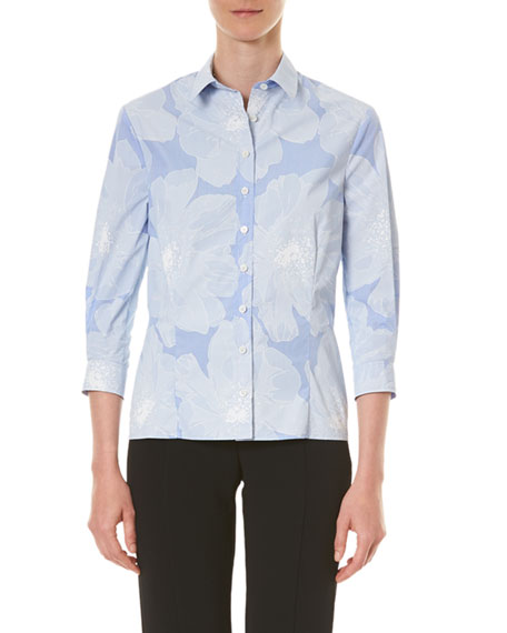 Image 1 of 3: Carolina Herrera Tonal Floral Pinstriped Classic Button-Front Shirt