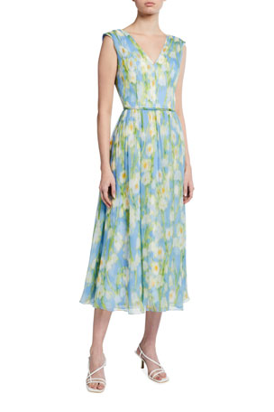 Carolina Herrera Floral Print Silk Midi Dress