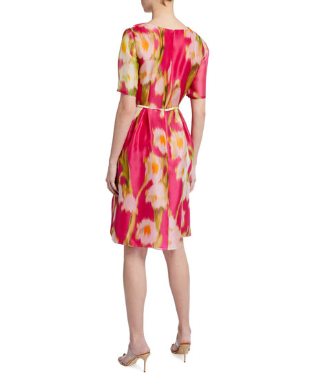 Image 2 of 2: Carolina Herrera Floral Print Chiffon 1/2-Sleeve Dress