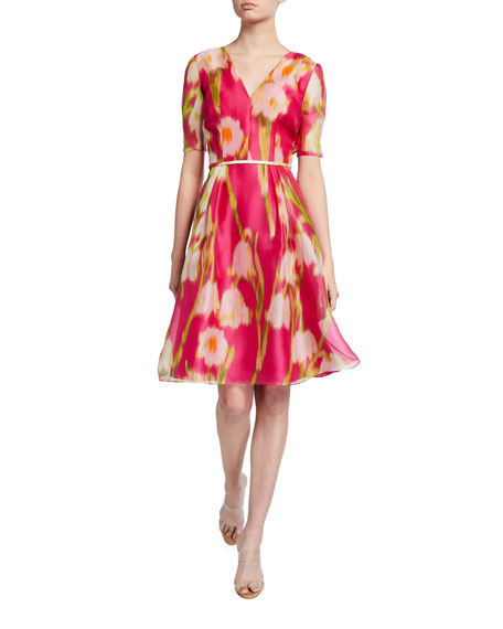 Image 1 of 2: Carolina Herrera Floral Print Chiffon 1/2-Sleeve Dress