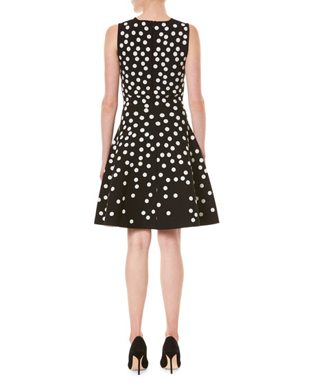 Image 2 of 3: Carolina Herrera Polka Dot Fit-&-Flare Dress