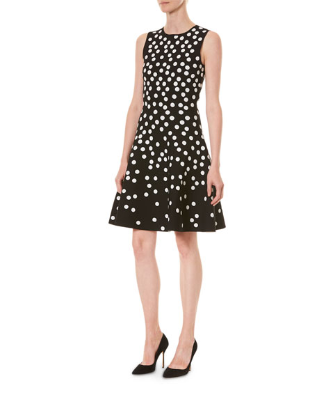 Image 3 of 3: Carolina Herrera Polka Dot Fit-&-Flare Dress