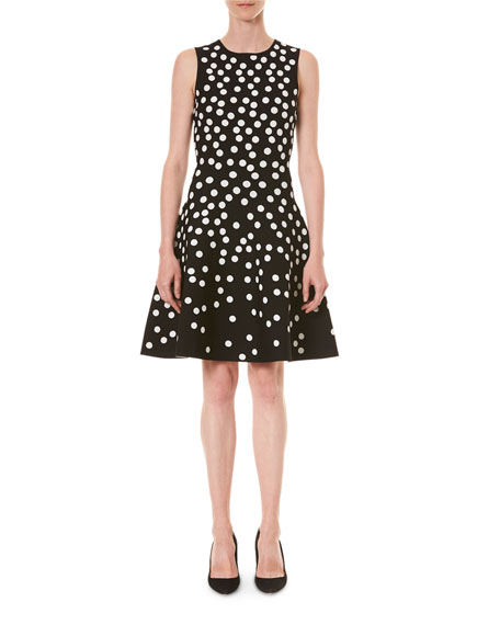 Image 1 of 3: Carolina Herrera Polka Dot Fit-&-Flare Dress