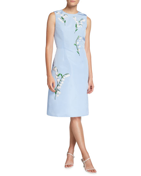 Image 1 of 2: Carolina Herrera Floral-Embroidered Silk A-Line Dress