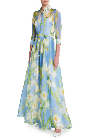 Carolina Herrera Floral Print Silk Shirtdress