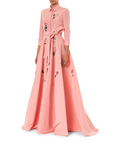 Image 3 of 3: Carolina Herrera Floral Embroidered Shirt Gown