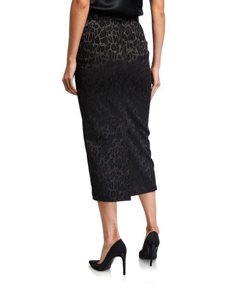 UNTTLD Leopard Jacquard Pencil Skirt
