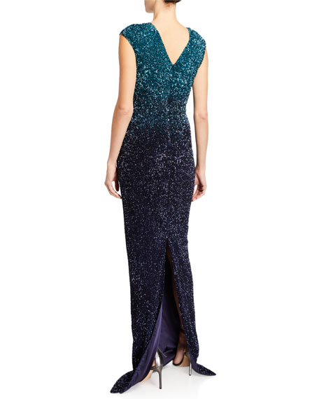 Pamella Roland Ombre Signature Sequin V-Neck Column Gown