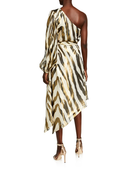 Haney Annika Zebra Print Silk Dress