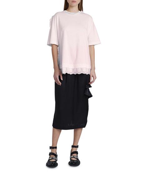 Simone Rocha Cotton Jersey Short-Sleeve Beaded-Neck Frill-Hem Top