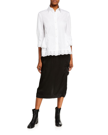 Simone Rocha Satin Side-Frill Midi Skirt