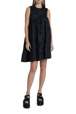 Simone Rocha Poplin Asymmetric Babydoll Dress