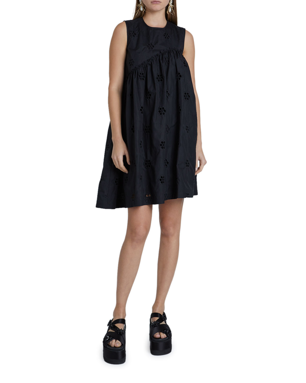 Simone Rocha Poplin Asymmetric Babydoll Dress