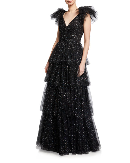 Jenny Packham Tiered Metallic Ball Gown