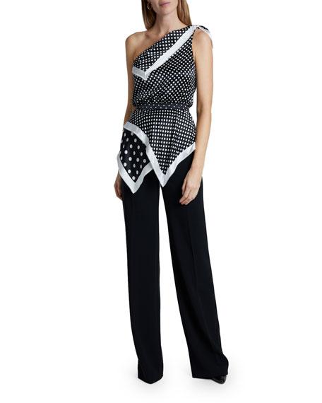 Altuzarra Polka-Dot Silk One-Shoulder Asymmetric Top