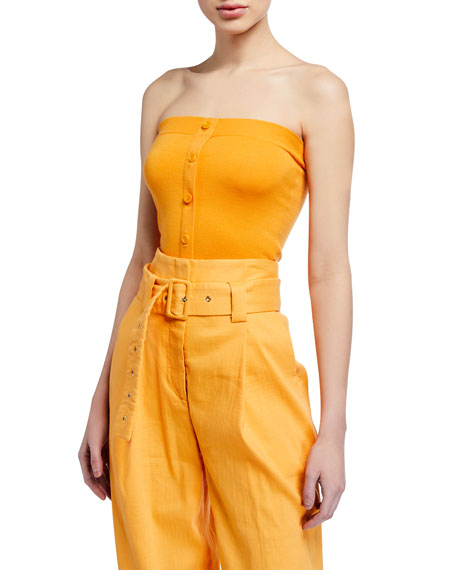 Sies Marjan Strapless Button-Front Tube Top