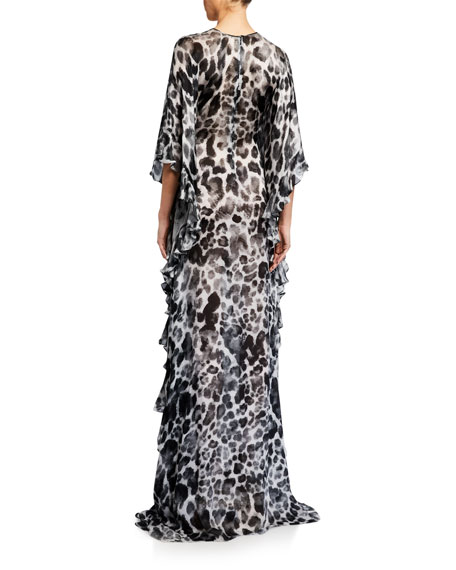 Naeem Khan Leopard Print Column Gown