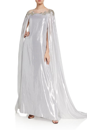 Pamella Roland Metallic Chiffon Caftan With Embroidered Neckline
