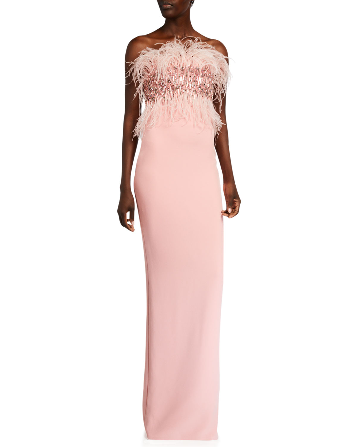Pamella Roland Sequined Feather-Bodice Column Gown