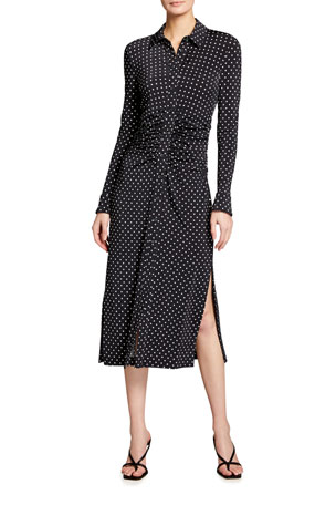 Altuzarra Polka Dotted Button-Front Midi Dress