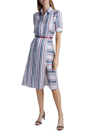 Altuzarra Stripe-Blocked Short-Sleeve Shirtdress