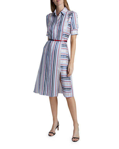 Stripe-Blocked Short-Sleeve Shirtdress