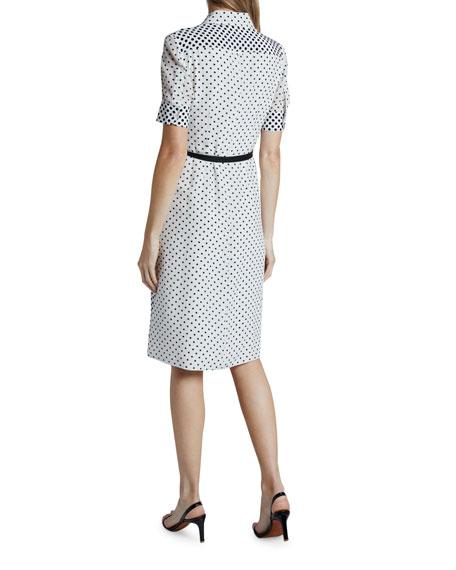 Altuzarra Polka-Dotted Silk Short-Sleeve Shirtdress
