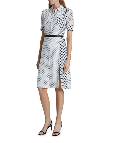 Polka-Dotted Silk Short-Sleeve Shirtdress