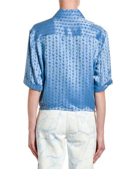 Off-White Logo Print Satin Shirt