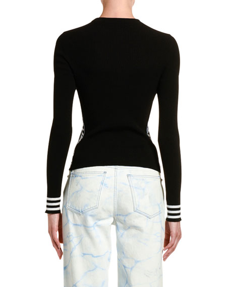 Off-White Striped-Cuff Knit Industrial Top