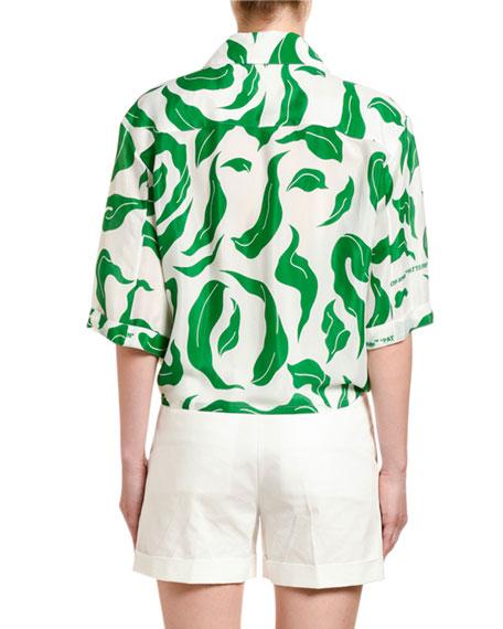 Off-White Leaf Print Satin Baseball-Knotted Shirt