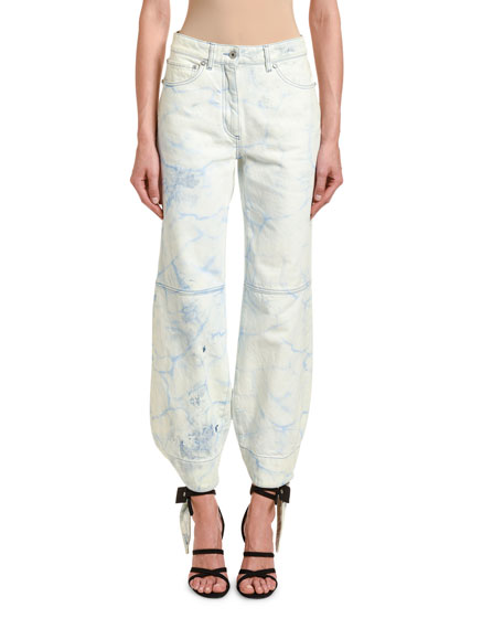 Off-White Tie-Dye Denim Bowed Track Pants