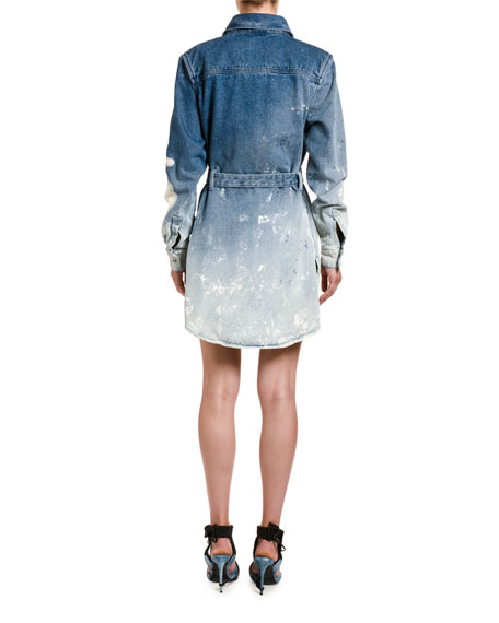 Off-White Shape Degrade Denim Shirtdress