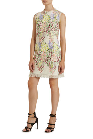 Giambattista Valli Embroidered Cotton Crewneck Dress
