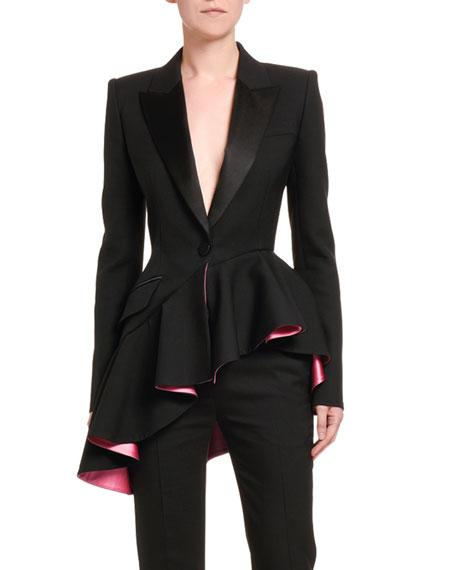 Alexander McQueen Short Asymmetric Ruffled Tux Blazer