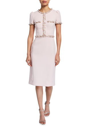 Jenny Packham Ines Jewel-Trimmed Sheath Dress