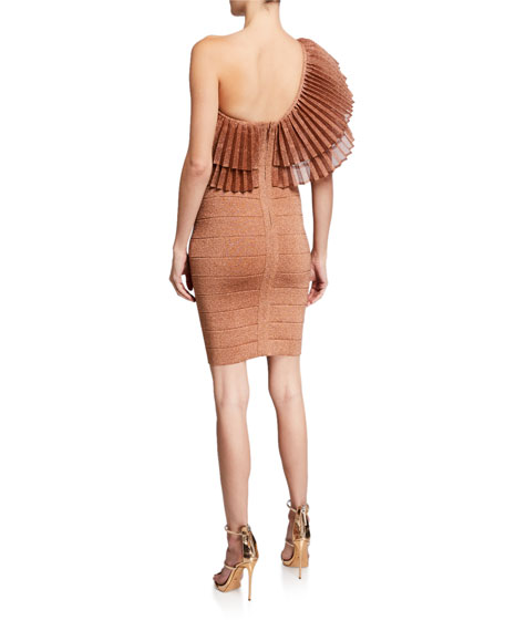 Herve Leger One-Shoulder Ruffled Bandage Dress