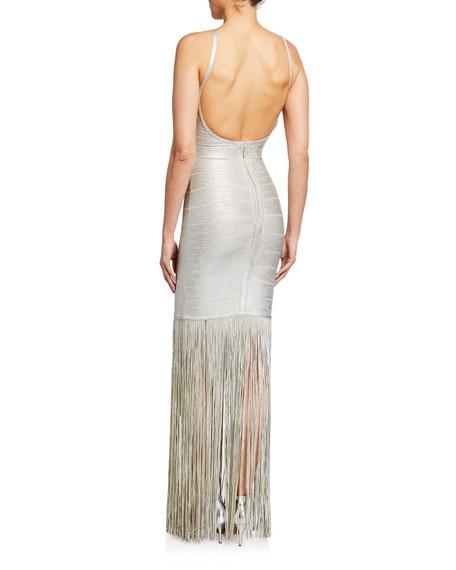 Herve Leger Square-Neck Strappy Foiled Fringe Gown