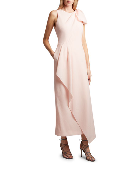 Roland Mouret Golden Crest Crepe Bow-Shoulder Dress