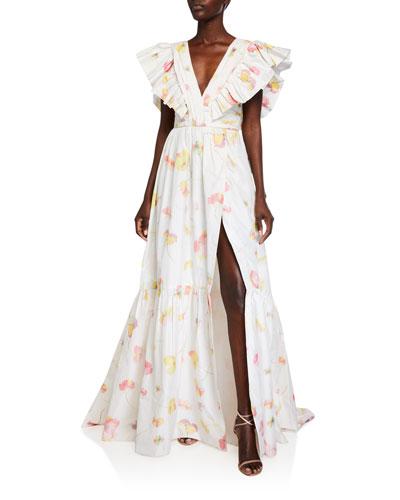 Fluttered Cap-Sleeve Ruffled Gown