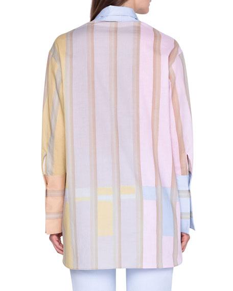 Akris Colorblocked Cotton Tunic Shirt