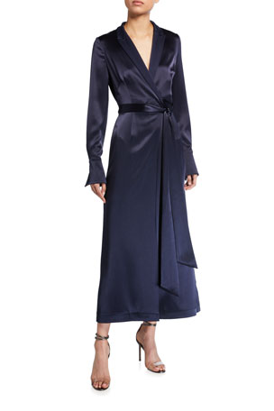 Galvan Satin Wrapped Coat Dress