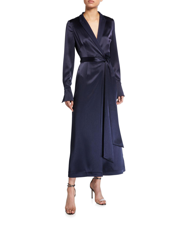 Galvan Satin Wrapped Coat Dress