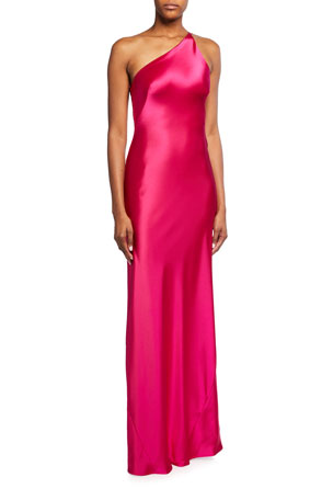 Galvan Roxy Satin One-Shoulder Gown