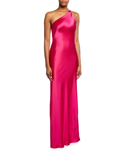 Roxy Satin One-Shoulder Gown
