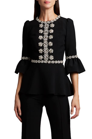 Andrew Gn Embroidered Lace-Up Blouse