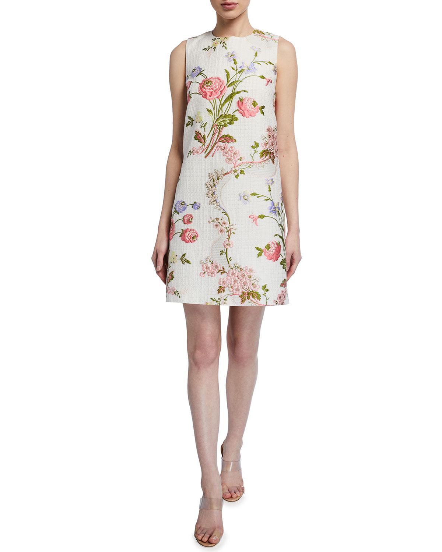 Andrew Gn Floral Jacquard Shift Dress